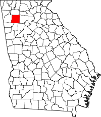 Map of Georgia with Bartow County highlighted