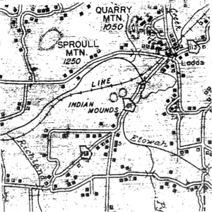 Figure 6. 1940 Bartow County Road Map showing Leake Mounds